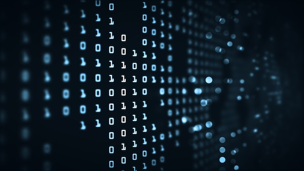 Fondo futuristico di codice binario di grandi dati astratti di tecnologia.