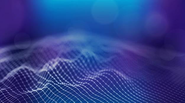 Fondo futuristico di dati di tecnologia di griglia del terreno di wireframe grande