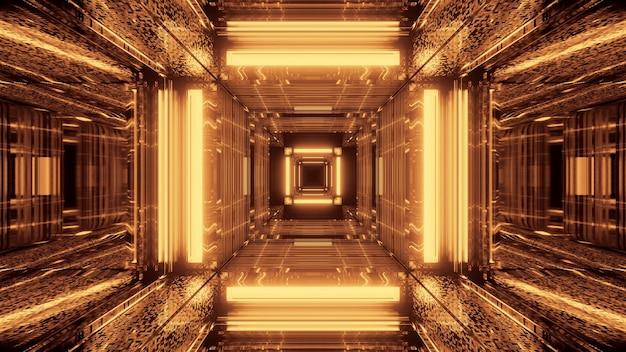 Fondo futuristico di fantascienza astratta con luci al neon dorate