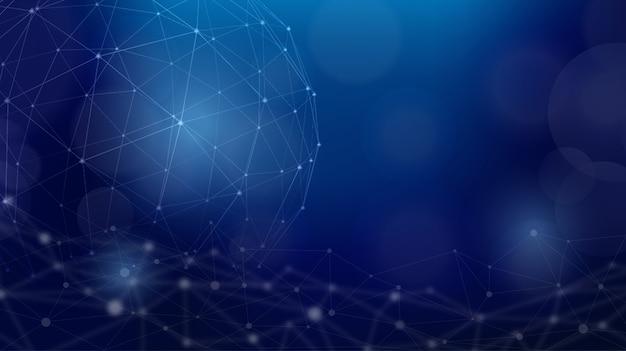 Fondo futuristico di scienza della sfera poligonale della struttura del cavo