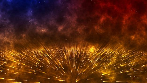Fondo futuristico digitale astratto della luce di spazio con le particelle, scintilla, rappresentazione 3d