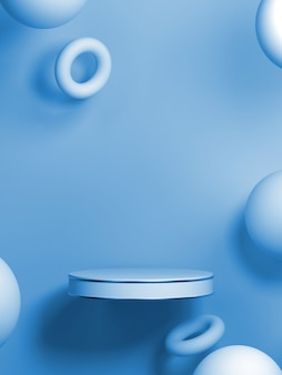 Fondo geometrico astratto di forma di colore blu, modello minimalista moderno per l'esposizione del podio o vetrina, rappresentazione 3d