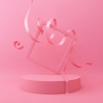 Fondo geometrico astratto di forma di colore rosa, esposizione minimalista moderna del podio o vetrina, rappresentazione 3d