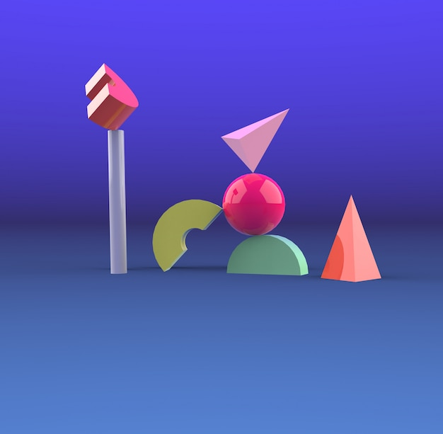 Fondo geometrico minimo 3d che rende forma geometrica