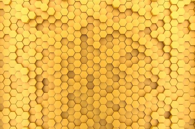 Fondo giallo del modello di esagono 3d