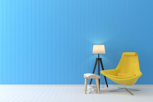 Fondo interno blu della sedia gialla gialla della parete pastello