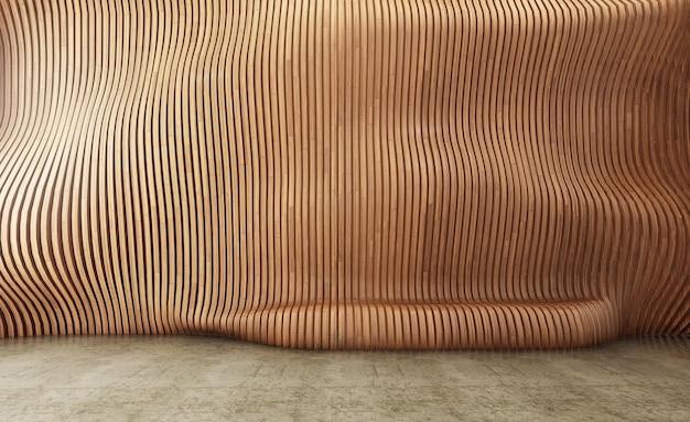 Fondo interno con parete parametrica in pannelli di legno, curva sul muro trasformabile in seduta.