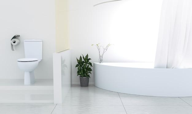 Fondo interno della stanza del bagno, rappresentazione 3d