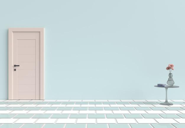 Fondo interno della stanza pastello vuota. arredamento con porta in legno, fiore, pavimento piastrellato. rende un 3d