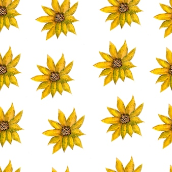 Fondo isolato modello floreale giallo floreale romantico senza cuciture disegnato a mano senza cuciture dell'acquerello