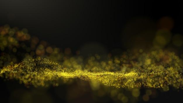 Fondo marrone dorato, firma digitale con particelle, onde scintillanti.