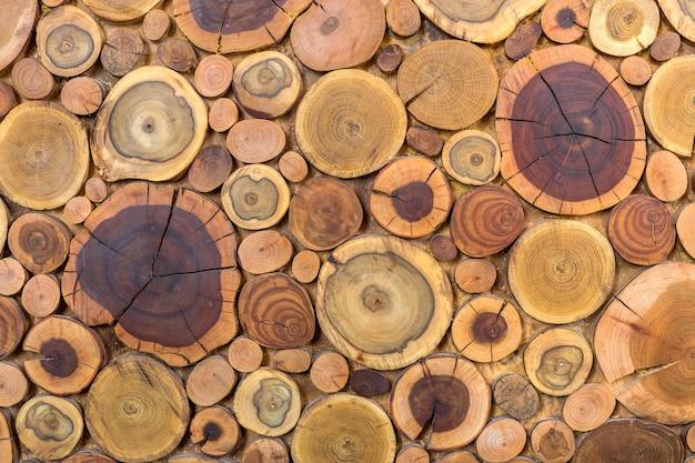 Fondo marrone marrone e giallo colorato ecologico solido naturale non dipinto di legno rotondo dei ceppi, dimensioni diverse delle sezioni del taglio dell'albero per struttura del fondo della stuoia del cuscinetto. fai da te concept art.
