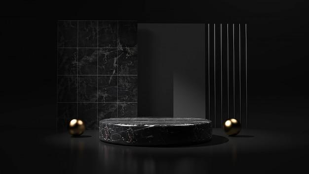 Fondo nero astratto con il podio di forma geometrica per il prodotto. rendering 3d