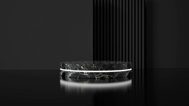 Fondo nero astratto con il podio di forma geometrica per il prodotto.