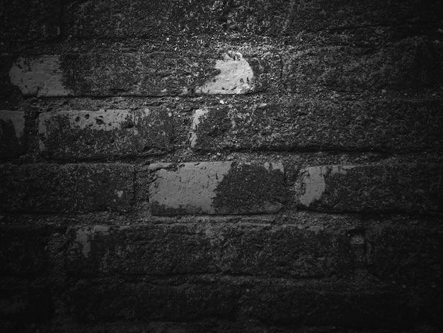 Fondo nero di struttura, superficie scura e grigia del muro di mattoni