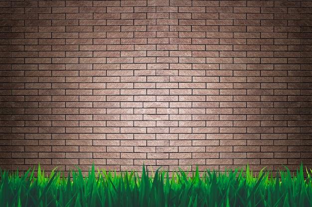 Fondo o carta da parati dell'erba e del muro di mattoni