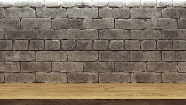 Fondo realistico con lo scaffale di legno del muro di mattoni per progettazione della decorazione.