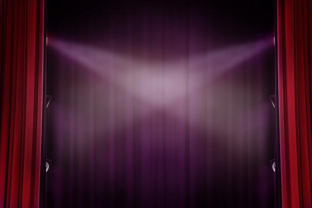 Fondo rosso del teatro della tenda con luce per fondo di dramma