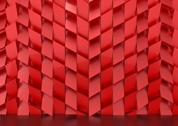 Fondo rosso lussuoso della parete del modello delle mattonelle di forma di trapedzoide.