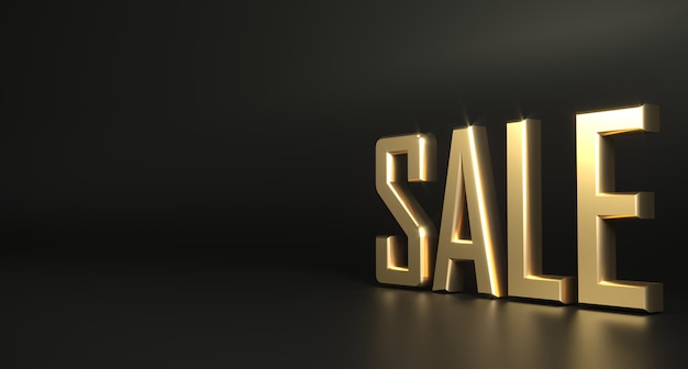 Fondo scuro di vendita dell'oro di parola 3d