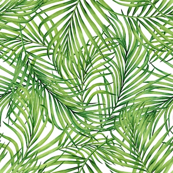 Fondo senza cuciture del modello delle foglie tropicali dell'acquerello