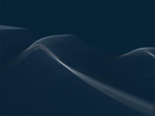 Fondo techno moderno 3d con le particelle con profondità di campo bassa