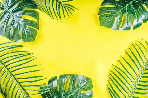 Fondo tropicale delle foglie di monstera e della palma