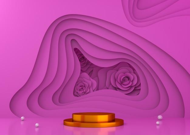 Fondo variopinto dell'esposizione del tunnel per la presentazione del prodotto, illustrazione della rappresentazione 3d.