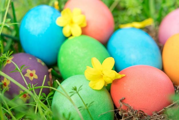 Fondo variopinto di concetto di pasqua delle decorazioni di festa di caccia delle uova di pasqua variopinte