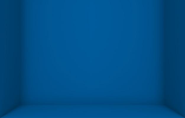 Fondo vuoto della parete dell'angolo della scatola del cubo di colore blu scuro.