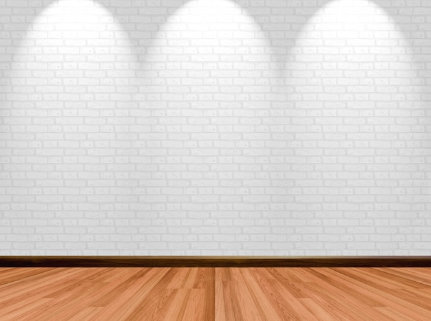 Fondo vuoto della stanza con il muro di mattoni e il riflettore di legno del pavimento.