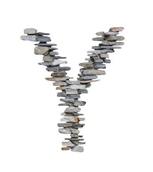 Font di a per creare dal muro di pietra isolato su bianco.