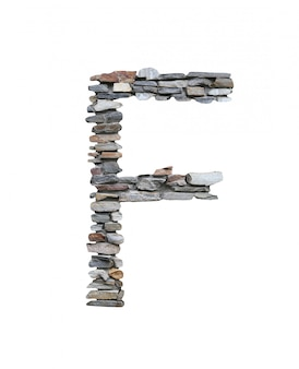 Font di f per creare dal muro di pietra isolato su bianco.
