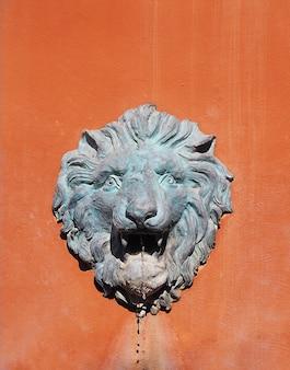 Fontana capa del leone sul muro di cemento arancio