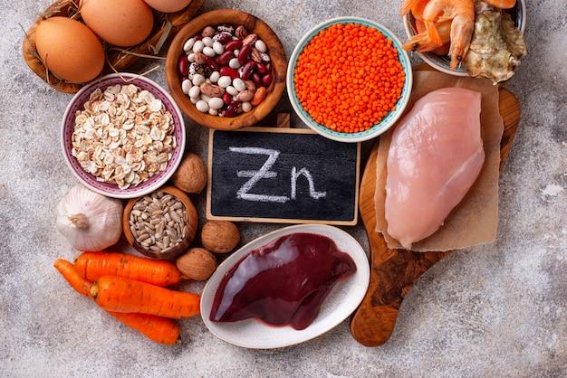 Fonti di prodotti sani di zinco.