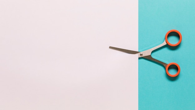 Forbici che tagliano carta bianca