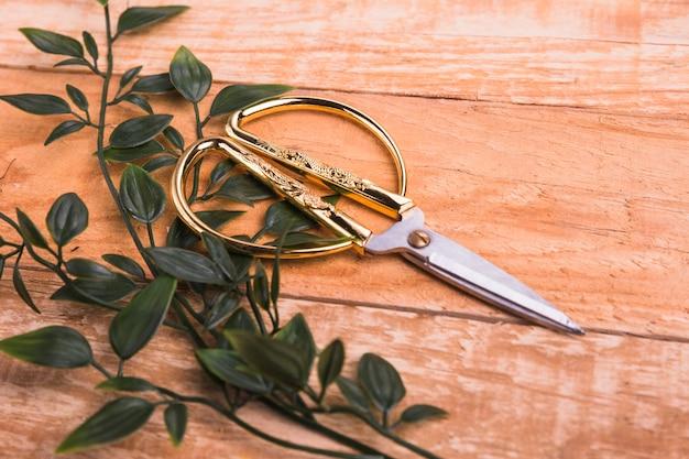 Forbici dorate con foglie verdi