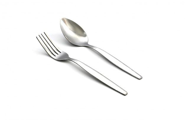 Forchetta e cucchiaio isolati