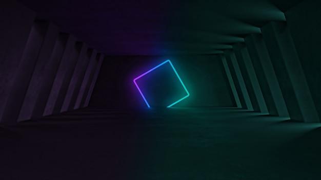 Forma al neon 3d che emette luce nell'interno scuro di stile industriale