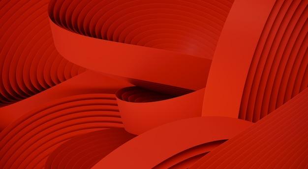 Forma astratta minima per la presentazione del prodotto. forma geometrica circolare rossa. illustrazione di rendering 3d.