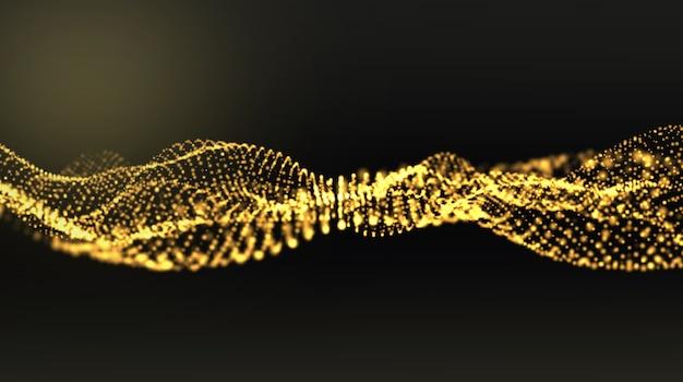Forma d'oro astratta e particelle di luce in movimento organico