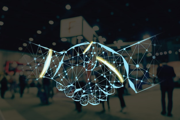Forma della stretta di mano che scrive dalle linee e dai punti sopra foto vaga astratta dell'evento di mostra finanziaria