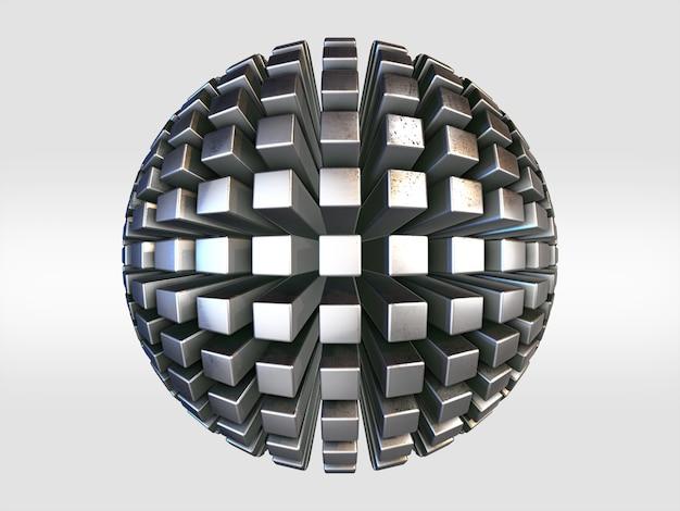 Forma di contorno futuristico. sfera di metallo. fantascienza. oggetto astratto nello spazio vuoto. rendering 3d