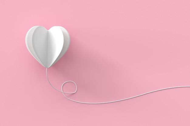 Forma di cuore bianco con linea su sfondo pastello rosa. idea di concetto di san valentino minimale.
