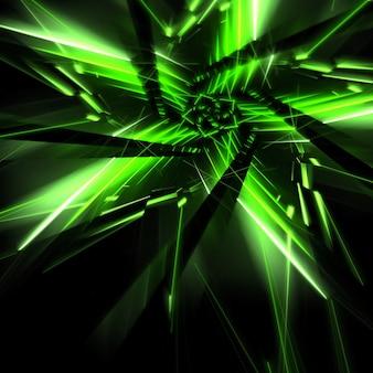 Forma di stella con neon verde si accende frattali