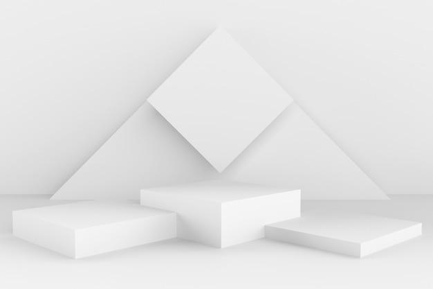 Forma e geometria astratte 3d, fondo bianco della fase di colore.