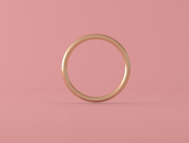 Forma geometrica astratta, anello dorato su fondo rosa, colori pastelli, stile minimo, rappresentazione 3d
