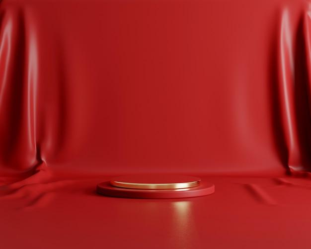 Forma geometrica astratta con stile minimal sul panno di colore rosso. utilizzare per presentazioni di prodotti o cosmetici. rendering 3d e illustrazione.