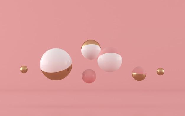 Forma geometrica astratta, sfera con oro e colore rosa, colori pastelli, stile minimo, rappresentazione 3d