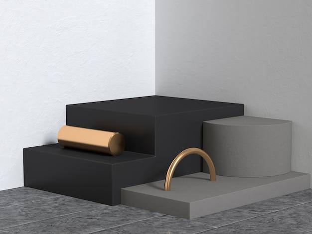 Forma geometrica di gruppo astratto scena nero bianco oro angolo parete rendering 3d
